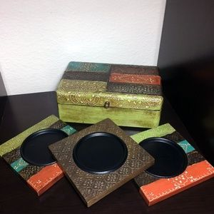 Port to Port Painted Box and Candle Pillar Plates